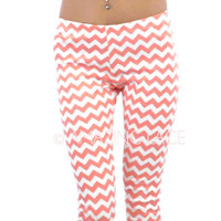 RESTOCK Orange Beach Chevron Coral Leggings
