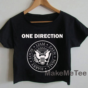 New One Direction RAMONES Logo Crop top Tank Top Women Black and White Tee Shirt - MM1