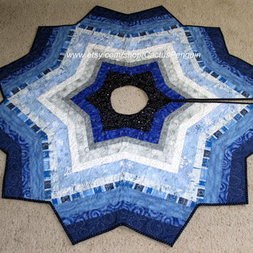 Christmas Tree Skirt String Pieced and Quilted with Blue & Silver Metallic Fabrics - Blue Star - Housewarming Gift - Elegant Quilt Decor