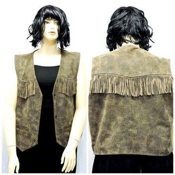 80s fringed leather vest / size XL / XXL / plus size / Charles Klein / stonewashed leather fringe vest / brown leather vest