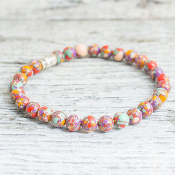 Colorful beaded stretchy bracelet, custom made yoga bracelet, womens bracelet