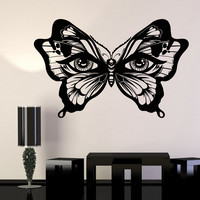 Vinyl Wall Decal Butterfly Insect Women's Eyes Art Decor Stickers Unique Gift (1090ig)