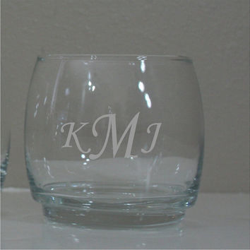 4 - Personalized Laser Engraved 8 oz Whiskey Glasses