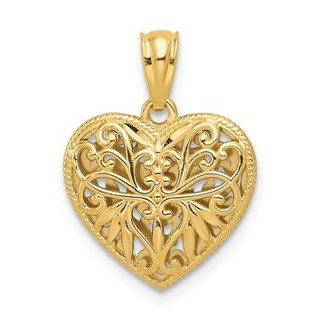 14k Yellow and White Gold Two-tone Reversible Filigree Heart Pendant Length 18mm