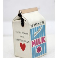 Cute blue milk bag white shoulderbag