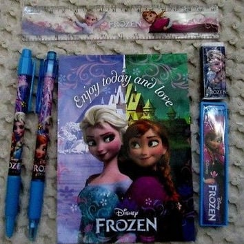 Disney Frozen Blue Stationary Set Character Pencil,Pen,Note Pad,Ruler,Eraser-New