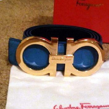 Ferragamo Fashion Contracted Smooth Buckle Belt Leather Belt G-A-GFPDPF