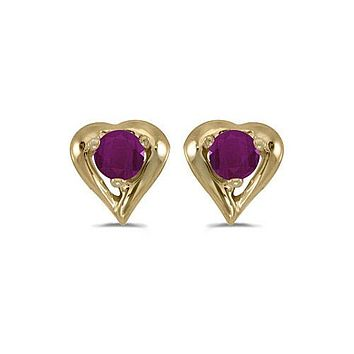 14K Yellow Gold Round Ruby Heart Shaped Earrings