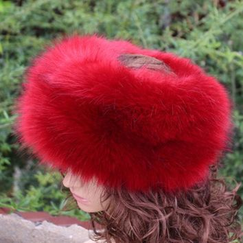DCCKJG2 new fashion faux fur huff multicolor sleek warm soft top quality fake fur hat winter women fluffy head decoration fashion