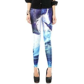 White Unicorn Galaxy Universe Sky Digital Print Comfy Stretch Leggings for Women in Blue