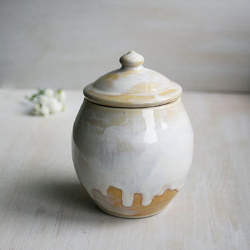 Sugar Bowl Rustic Ceramic Stoneware Milk and Honey Glaze Handmade Pottery Ready to Ship Made in USA
