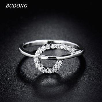 BUDONG Infinity 2017 Fashion Unique Finger Ring for Women Silver Color Band Cubic Zirconia Crystal Wedding Jewelry XUR169