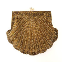 Vintage 60s Walborg Hand Beaded Cocktail Purse Clutch Bag Gold Seashell Design with Kiss Enclosure