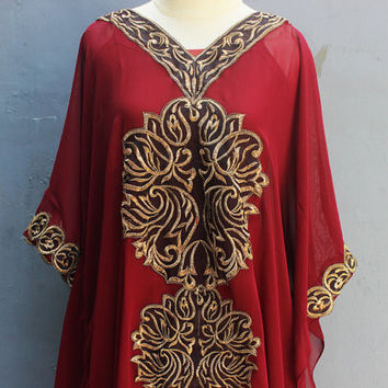 Red Maroon Caftan Dress, Maxi Dresses, Honeymoon, Maternity Gifts, Beach Cover Ups, Resortwear, Loungewear, Kaftan Dress