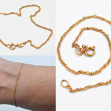 Vintage Italy 14K Yellow Gold Chain Bracelet, Twisted Rope Chain, Fine Gold, Delicate, Feminine, Italian, 7 Inches, So Nice! #c127