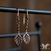 Petite Copper Earrings w/ Tiny Leaves