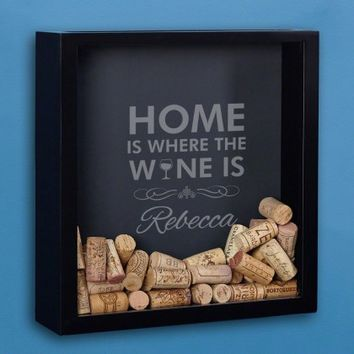 Where the Wine Is Personalized Cork Shadow Box