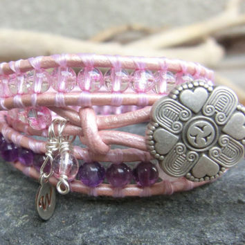Soft and Pink Leather Wrap Gemstone Bracelet - Amethyst - Moonstone - Cracked Pink Crystal