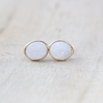 Druzy Pebble Studs - Snow