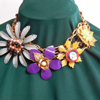 "Lenora Dame Necklace 18"" with Enameled Flowers"