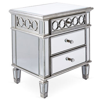 Geo 2-Drawer Nightstand, Silver, Nightstands