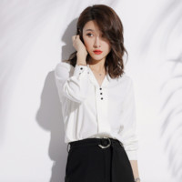 Sexy Long Sleeves Button Detailing V Neckline Blouse
