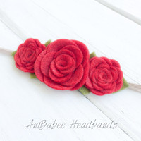Red Felt Flower Headband, baby flower headband, Felt Flower Crown Headband, Felt Baby Headbands, Felt Flowers, Flower Headband
