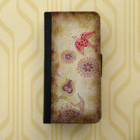 Vintage pattern - iPhone 4/5 wallet case, Samsung Galaxy S3 S4 flip case, book style, iPhone 4 case, iPhone 5 case