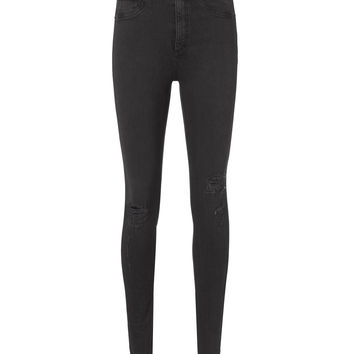 High-Rise Faded Black Skinny Ripped Jeans