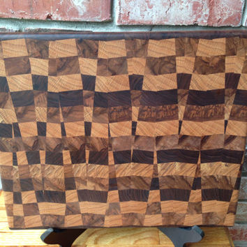 Wood cutting board - Random Design -Black Walnut - Pecan - End Grain