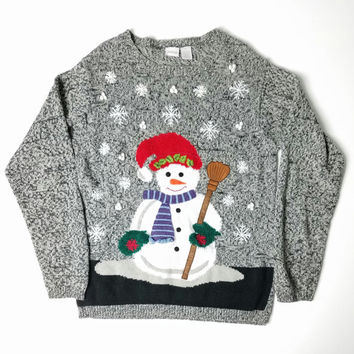 Ugly Christmas Sweater, 90s Holiday Sweater, Frozen Sweater, Vintage Christmas Sweater, Holiday Party, Frosty The Snowmen Sweater