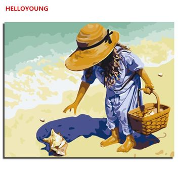 HELLOYOUNG Handpainted Oil Painting Pick up shells Digital Painting by numbers oil paintings chinese scroll paintings Home Decor