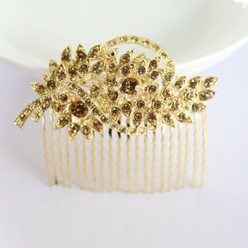 Gold Bridal Comb/Wedding Floral Hair Comb/Rhinestones Crystal Comb Clip/Bride Hairpiece/Bridesmaid Hair Comb Jewelry/Leaf Comb Accessories