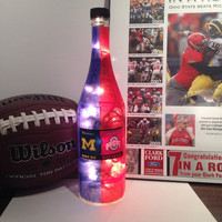 Ohio State Buckeyes/Michigan Wolverines House Divided wine bottle lamp, OSU/Michigan rivalry collectors item, football decor, man cave