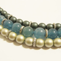 Aquamarine Bracelet with Dark Green and Gold Satin Glass Druk Beads - Wedding, Bridal, Vintage Inspired, Feminine, Gift