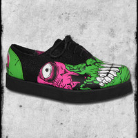 IRON FIST ZOMBIE STOMPER BLACK MONSTER GREEN FAUX LEATHER FLATS CREEPERS SHOES