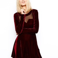 Poppy Lux Verity Dress in Velvet - Wine