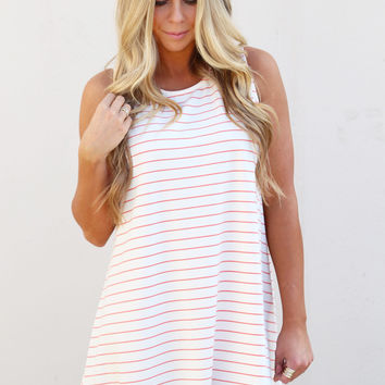 Striped Tank Swing Dress {Ivory/Coral}