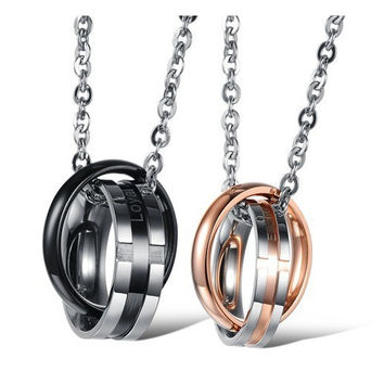 Wonderful Life For Happy Lovers Titanium Steel Pendant Engravable(Price For A Pair)
