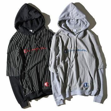 Champion Fashion Stripe Long Sleeve Top Sweater Pullover Hoodie