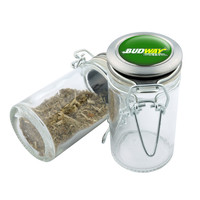 Glass Stash Jar - Subway Budway - 75ml Storage Container -  Secret Stash Box for Custom Herb Grinder - Stay Fresh Herbs 1/6 oz.