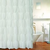 "WHITE GYPSY RUFFLED CRUSHED SHEER FABRIC BATHROOM SHOWER CURTAIN 70""X72"""
