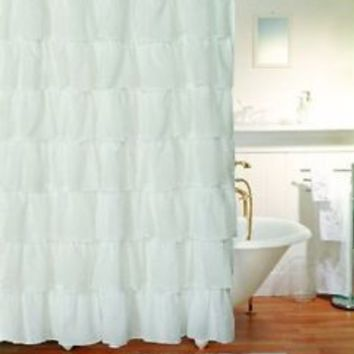 Shop White Ruffle Curtains on Wanelo
