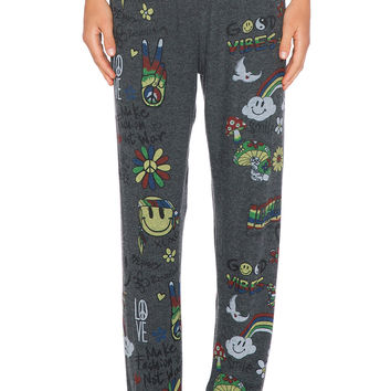 Lauren Moshi Good Vibes Tanzy Sweatpant in Black