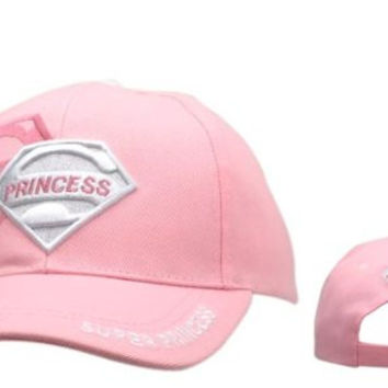 PINK Super Princess Adjustable Baseball Cap with Superman-looking Symbol for Women and Teen Girls