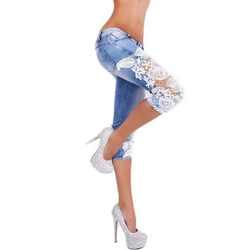 Slim Stretch Mid Waist Denim Pencil Pants Skinny Lace Crochet Hollow Out Blue Jeans Mujer Patchwork Women Trousers