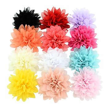 "Approx 4"" Chiffon Flower Hairpin Children Hair Clip Kids Girls Hairclips Headdress Barrette Headwear Hair Accessorises"