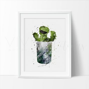 Oscar the Grouch, Sesame Street Watercolor Art Print