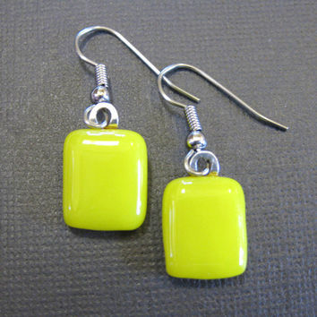 Dangle Earrings with Yellow Fused Glass, Fused Glass Earrings - Lemon Sorbet  by mysassyglass