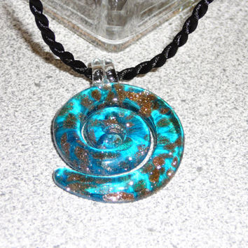 Large Blue Glass Swirl Pendant with Glittering Gold Lampwork on Black Cord Necklace. Turquoise. Gold. Pendant Necklace. Jewelry Sale